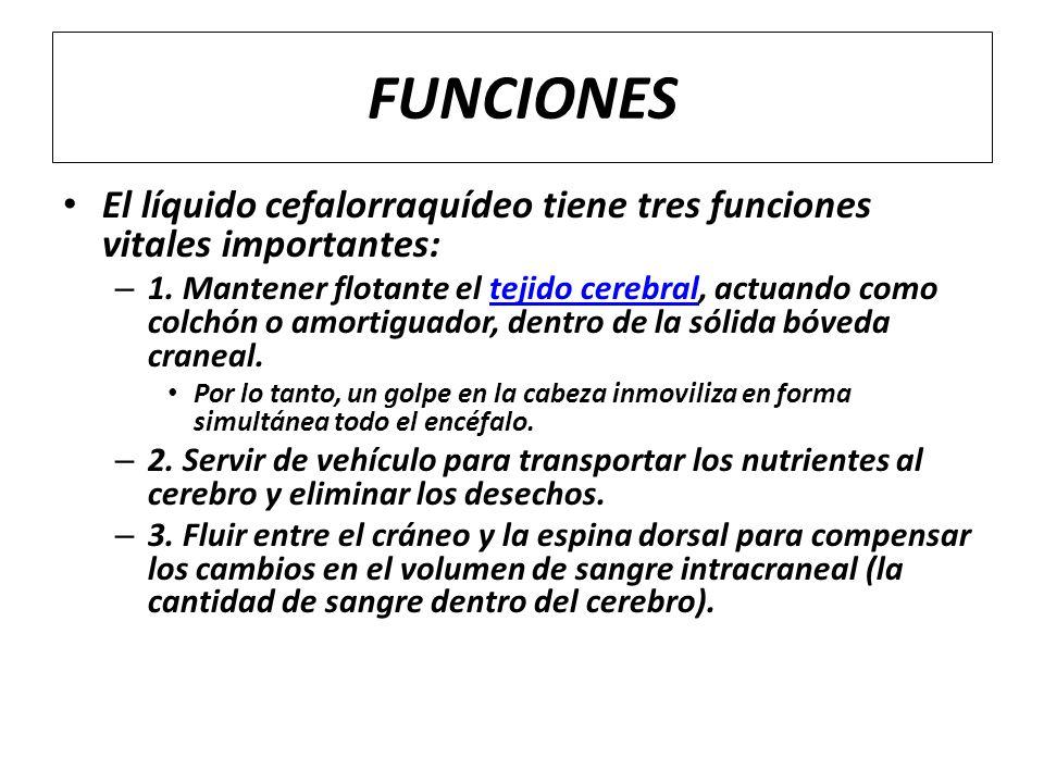 FUNCIONES El líquido cefalorraquídeo tiene tres funciones vitales importantes: