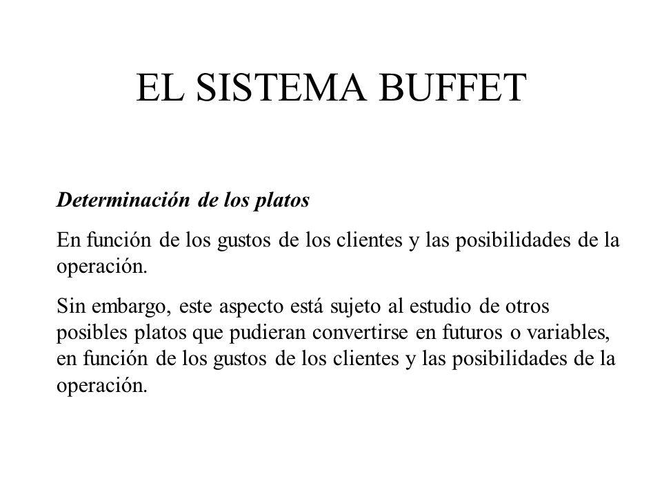 EL SISTEMA BUFFET Determinación de los platos
