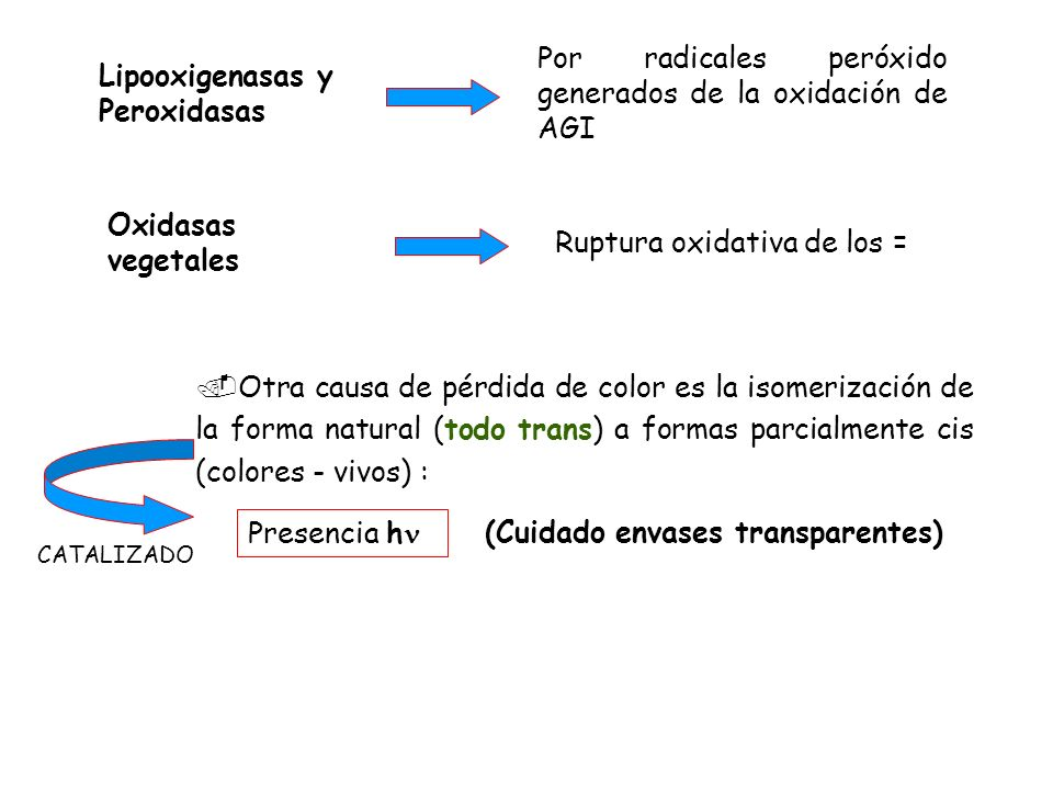 Por radicales peróxido generados de la oxidación de AGI