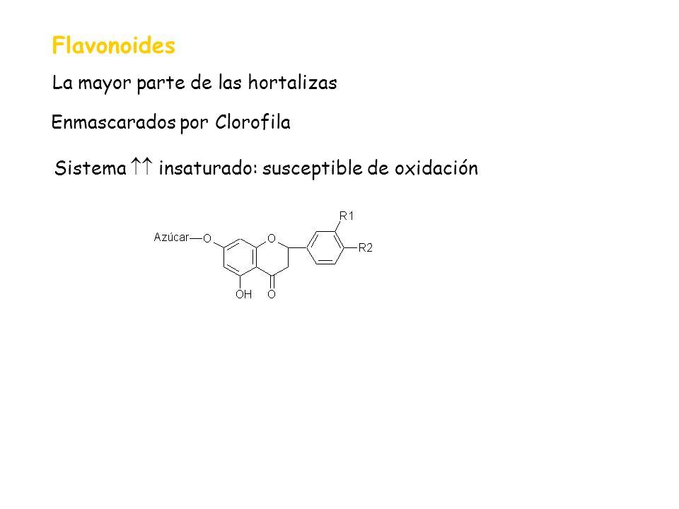 Flavonoides La mayor parte de las hortalizas