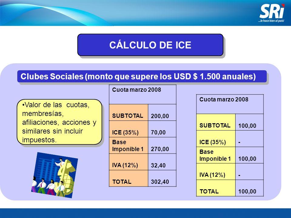 CÁLCULO DE ICE Clubes Sociales (monto que supere los USD $ 1.500 anuales) Cuota marzo 2008. SUBTOTAL.