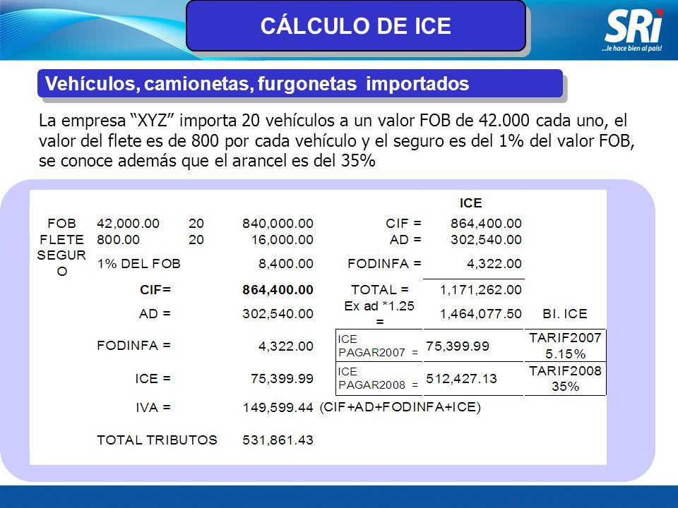 CÁLCULO DE ICE Vehículos, camionetas, furgonetas importados