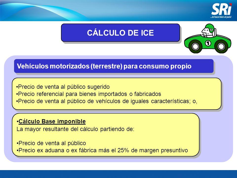 CÁLCULO DE ICE Vehículos motorizados (terrestre) para consumo propio