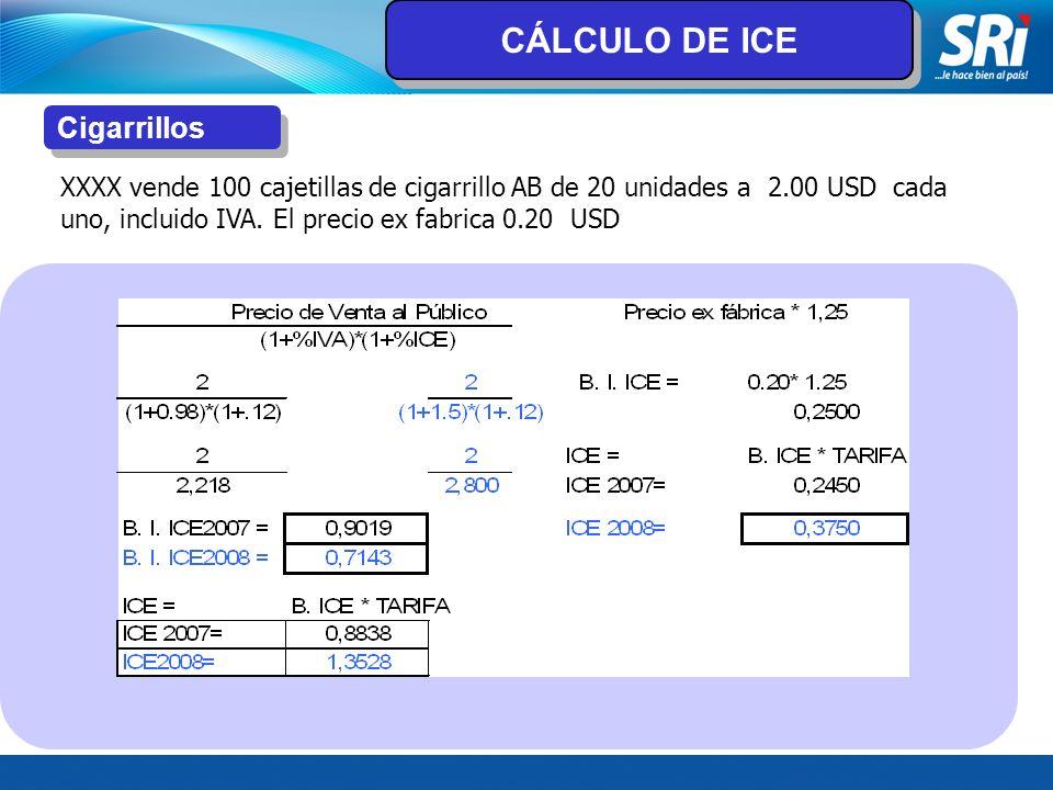 CÁLCULO DE ICE Cigarrillos