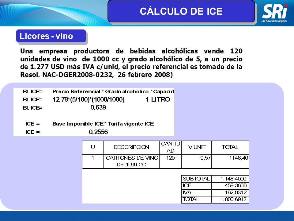 CÁLCULO DE ICE Licores - vino