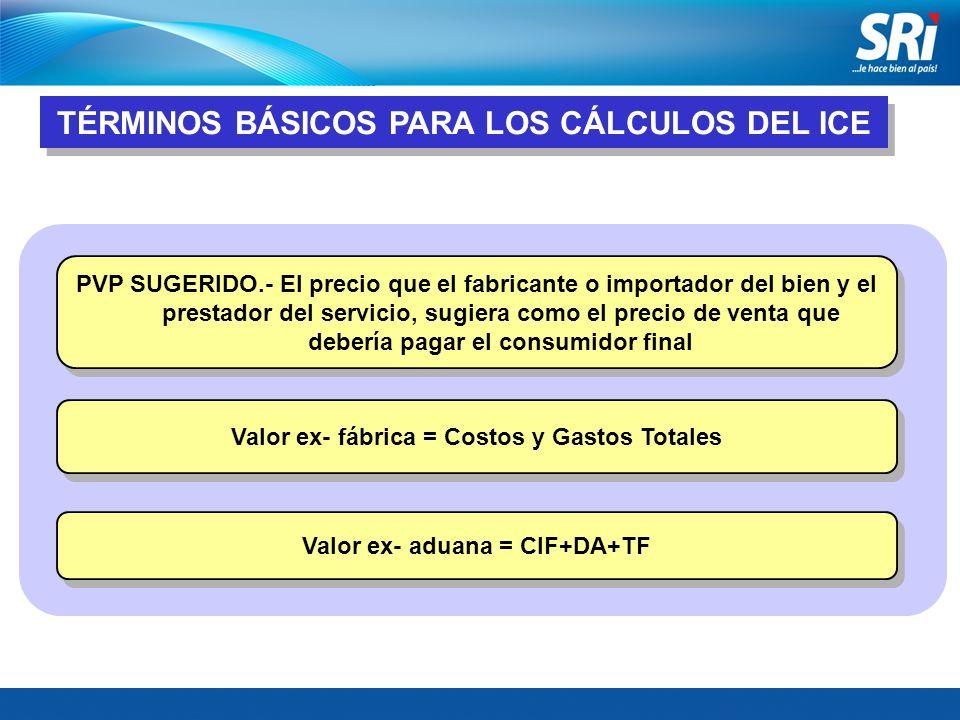 TÉRMINOS BÁSICOS PARA LOS CÁLCULOS DEL ICE