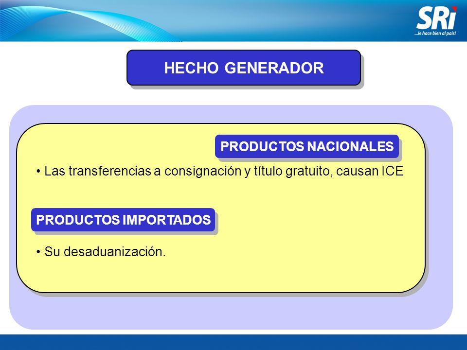 HECHO GENERADOR PRODUCTOS NACIONALES