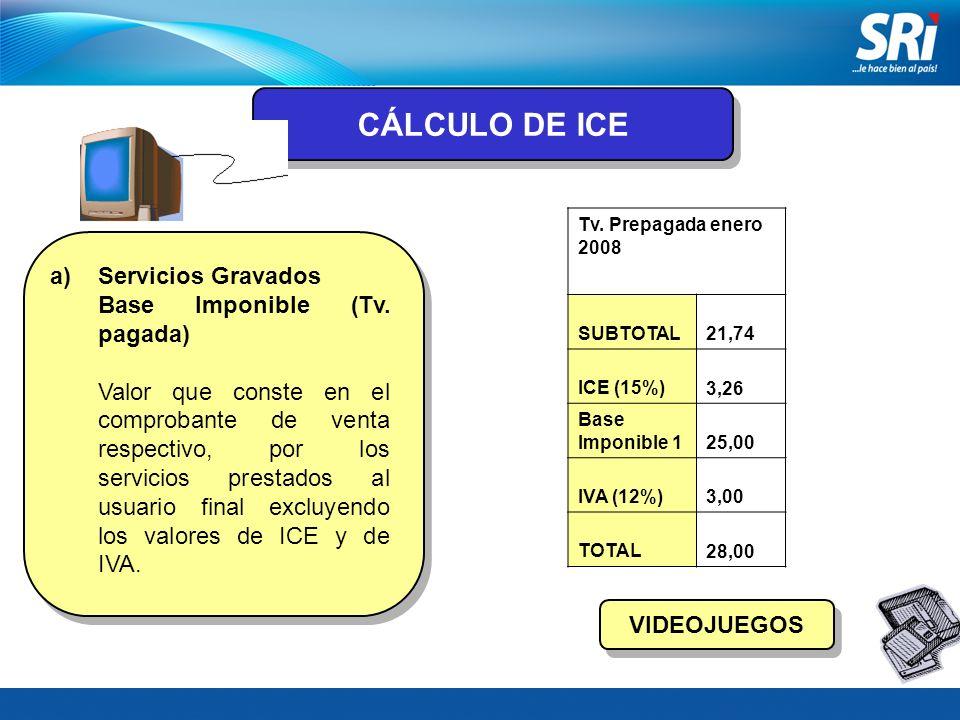 CÁLCULO DE ICE Servicios Gravados Base Imponible (Tv. pagada)