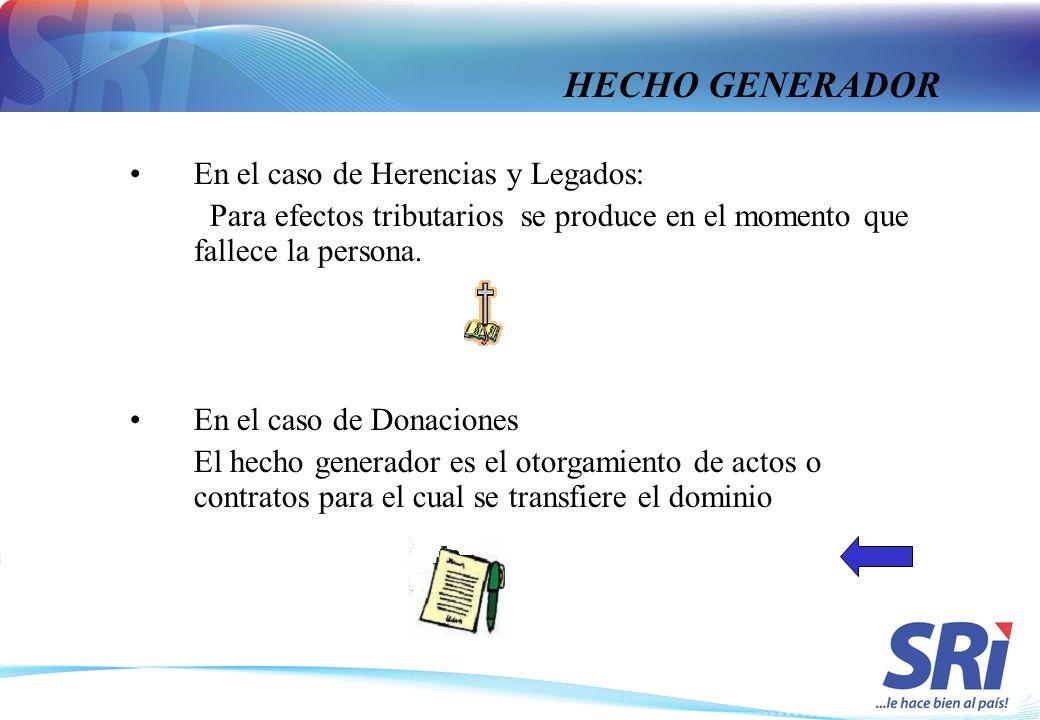 HECHO GENERADOR En el caso de Herencias y Legados: