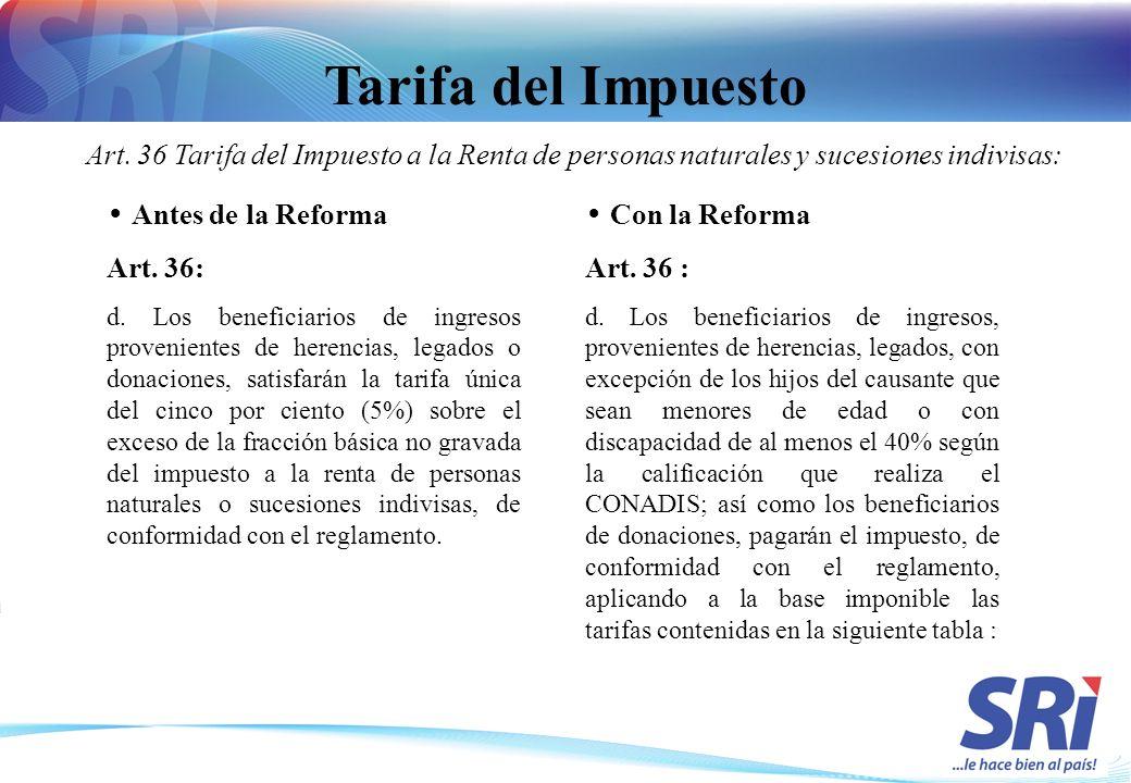 Tarifa del Impuesto Art. 36 Tarifa del Impuesto a la Renta de personas naturales y sucesiones indivisas: