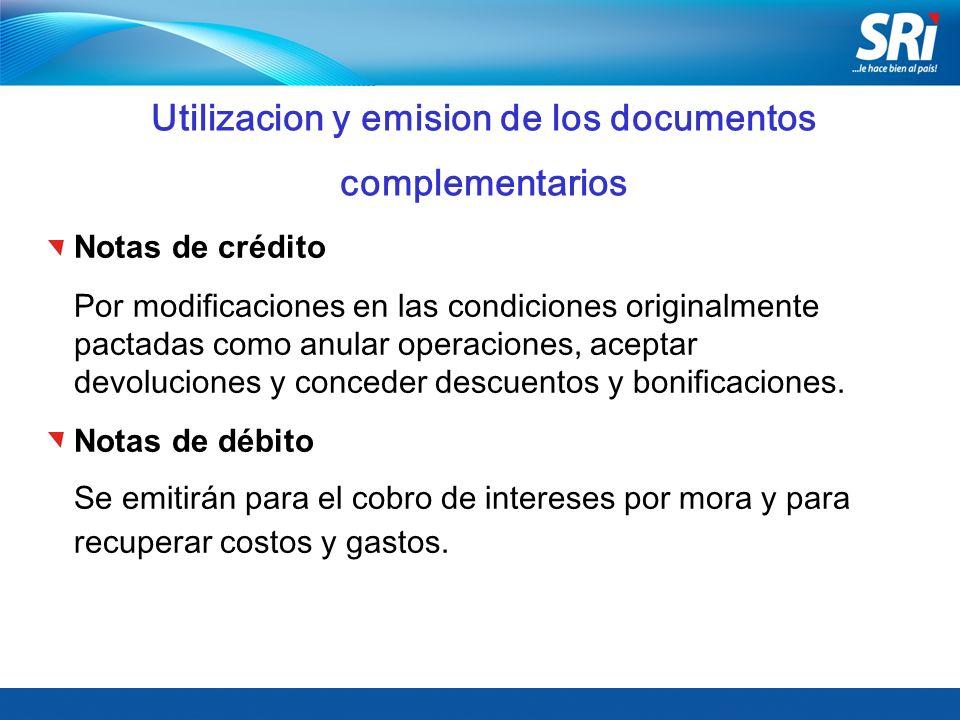Utilizacion y emision de los documentos complementarios