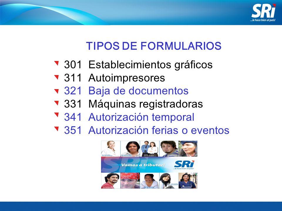 TIPOS DE FORMULARIOS 301 Establecimientos gráficos. 311 Autoimpresores. 321 Baja de documentos.