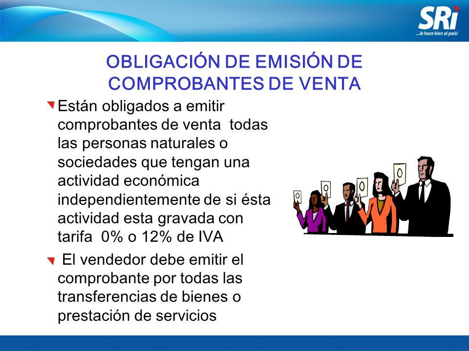 OBLIGACIÓN DE EMISIÓN DE COMPROBANTES DE VENTA