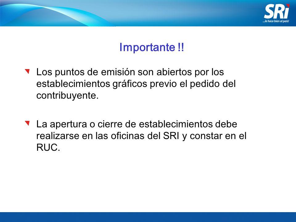 Importante !! Los puntos de emisión son abiertos por los establecimientos gráficos previo el pedido del contribuyente.