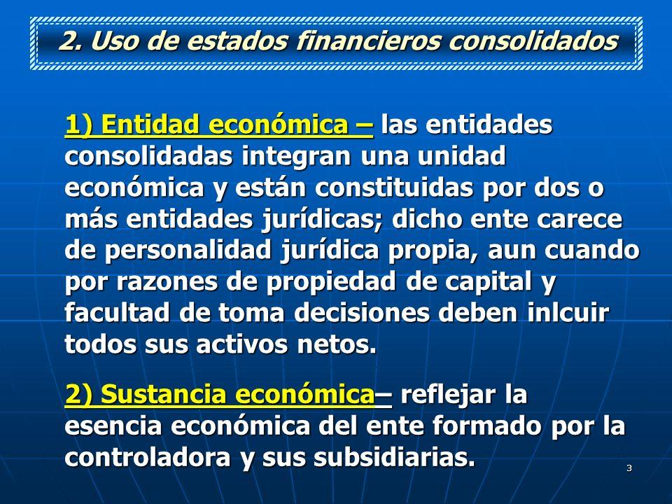 2. Uso de estados financieros consolidados