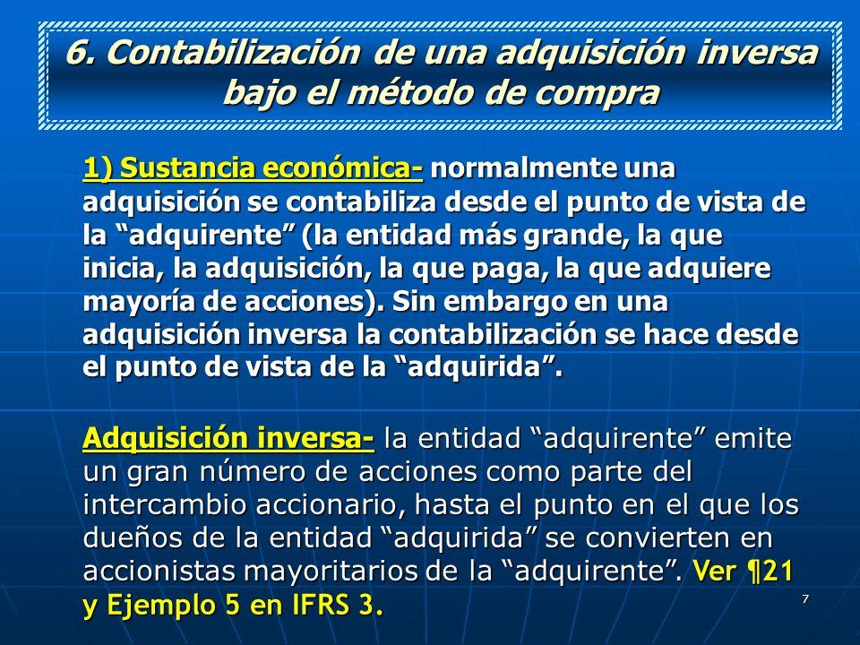 6. Contabilización de una adquisición inversa bajo el método de compra