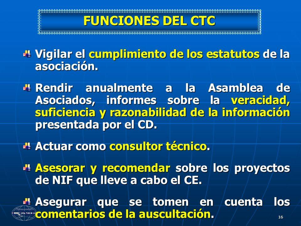FUNCIONES DEL CTC Vigilar el cumplimiento de los estatutos de la asociación.