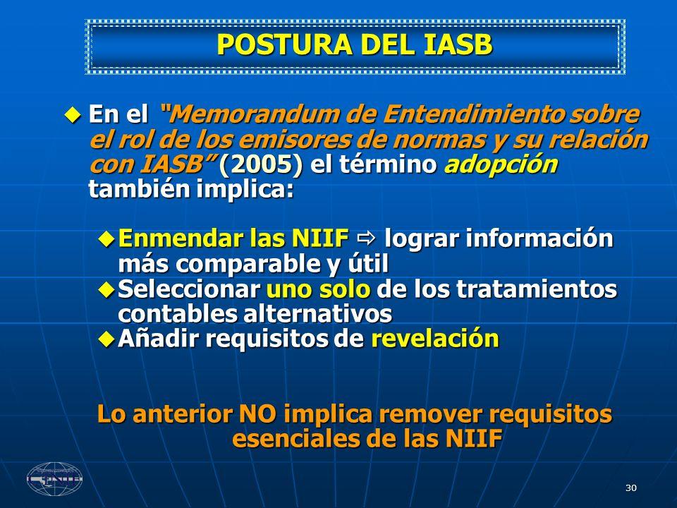 Lo anterior NO implica remover requisitos esenciales de las NIIF