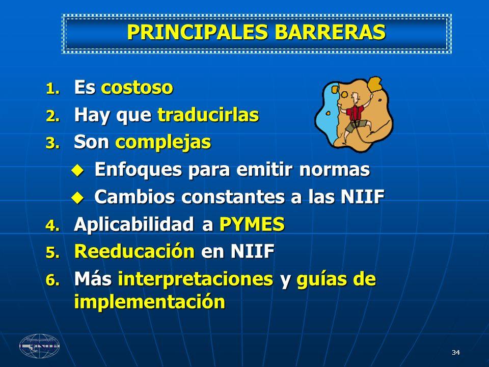 PRINCIPALES BARRERAS Es costoso Hay que traducirlas Son complejas