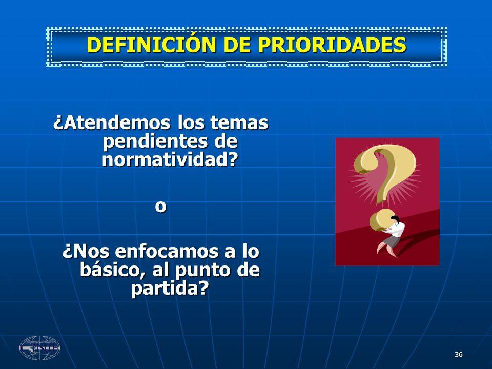 DEFINICIÓN DE PRIORIDADES
