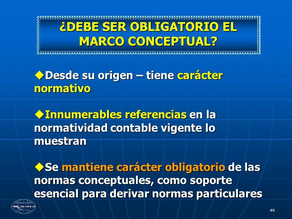 ¿DEBE SER OBLIGATORIO EL MARCO CONCEPTUAL