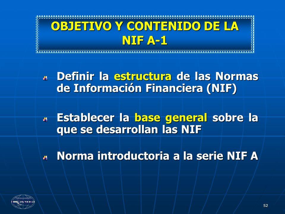 OBJETIVO Y CONTENIDO DE LA NIF A-1