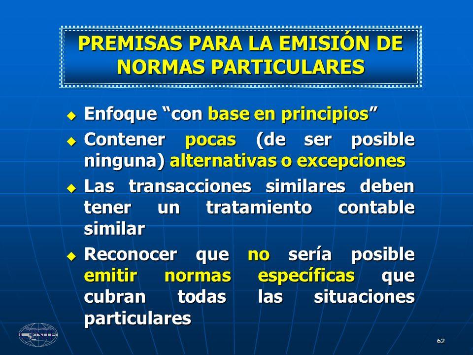 PREMISAS PARA LA EMISIÓN DE NORMAS PARTICULARES
