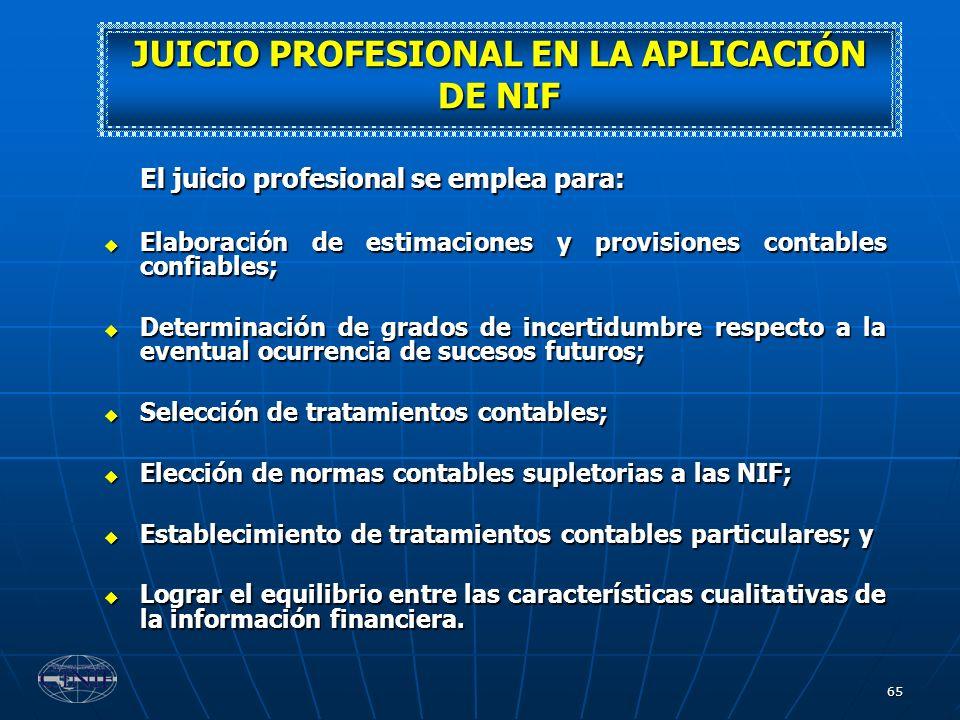 JUICIO PROFESIONAL EN LA APLICACIÓN DE NIF