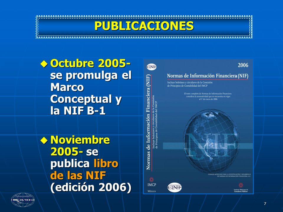 PUBLICACIONES Octubre 2005- se promulga el Marco Conceptual y la NIF B-1.