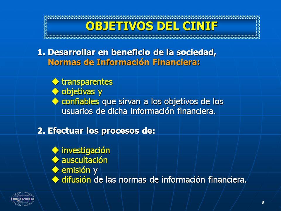 OBJETIVOS DEL CINIF Desarrollar en beneficio de la sociedad, Normas de Información Financiera: transparentes.