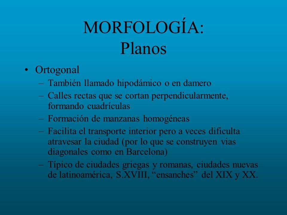 MORFOLOGÍA: Planos Ortogonal También llamado hipodámico o en damero