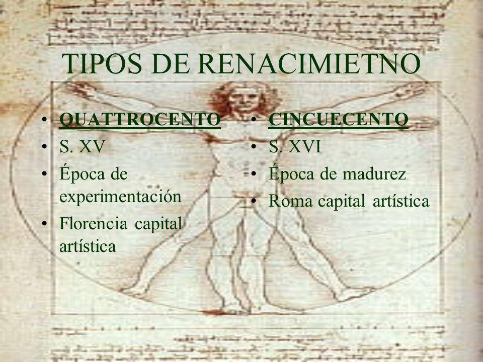 TIPOS DE RENACIMIETNO QUATTROCENTO S. XV Época de experimentación