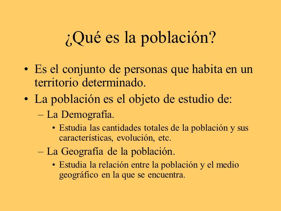 ¿Qué es la población Es el conjunto de personas que habita en un territorio determinado. La población es el objeto de estudio de: