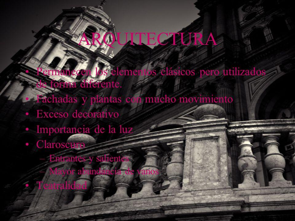 ARQUITECTURA Permanecen los elementos clásicos pero utilizados de forma diferente. Fachadas y plantas con mucho movimiento.