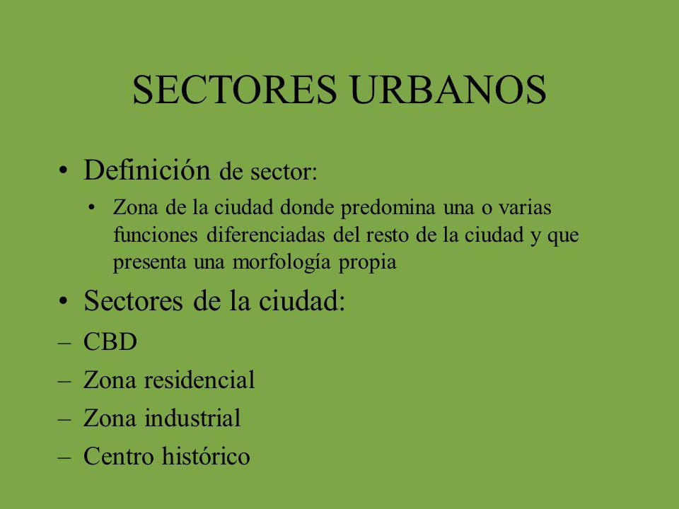 SECTORES URBANOS Definición de sector: Sectores de la ciudad: CBD