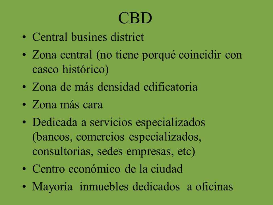CBD Central busines district