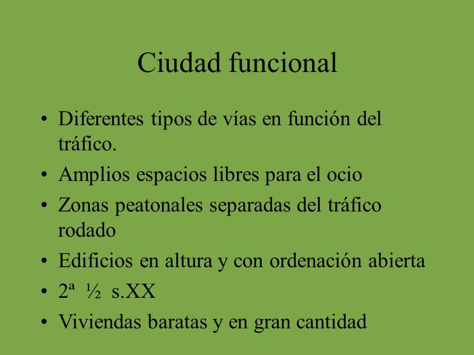 Ciudad funcional Diferentes tipos de vías en función del tráfico.