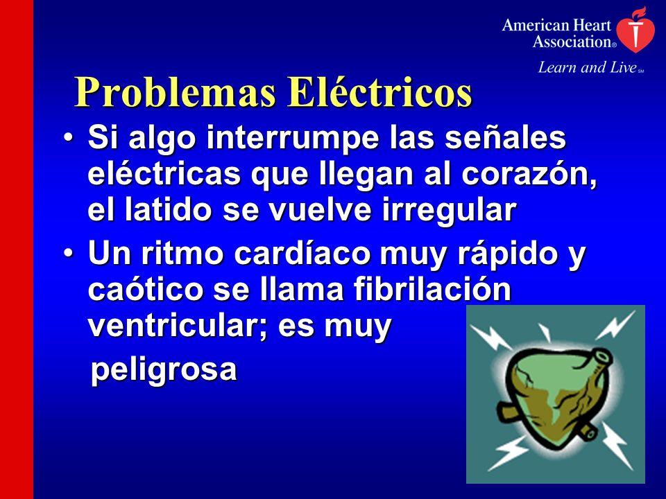 Problemas Eléctricos Si algo interrumpe las señales eléctricas que llegan al corazón, el latido se vuelve irregular.