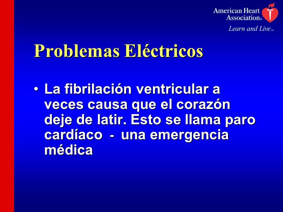 Problemas Eléctricos La fibrilación ventricular a veces causa que el corazón deje de latir.