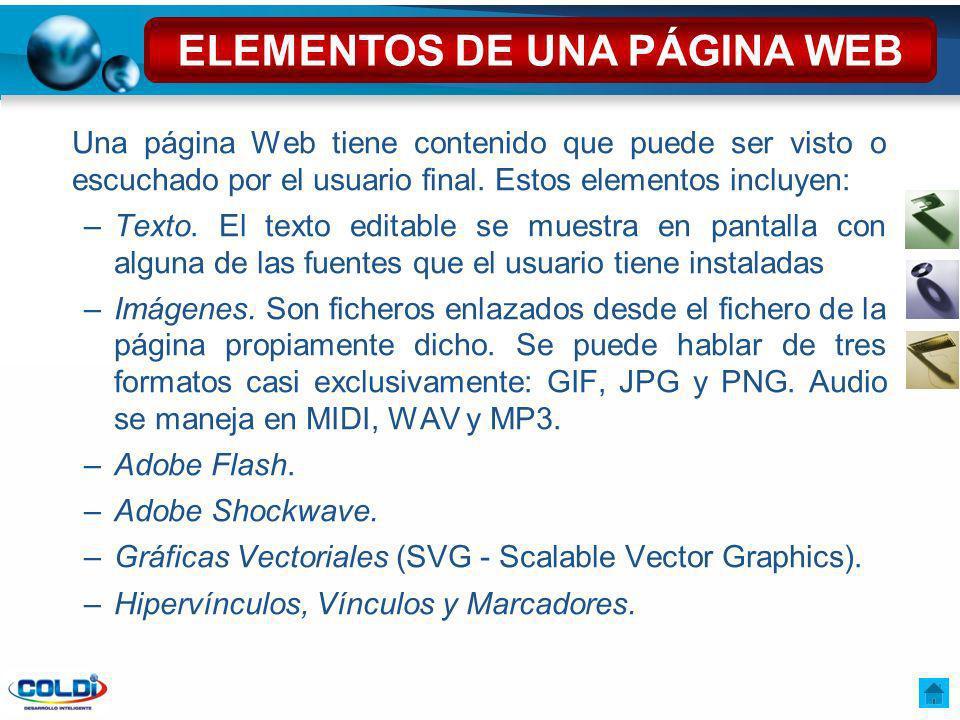 ELEMENTOS DE UNA PÁGINA WEB
