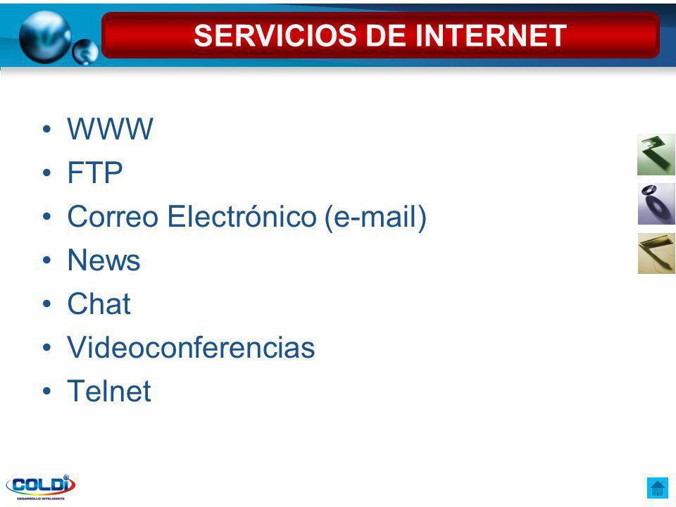 SERVICIOS DE INTERNET WWW FTP Correo Electrónico (e-mail) News Chat Videoconferencias Telnet