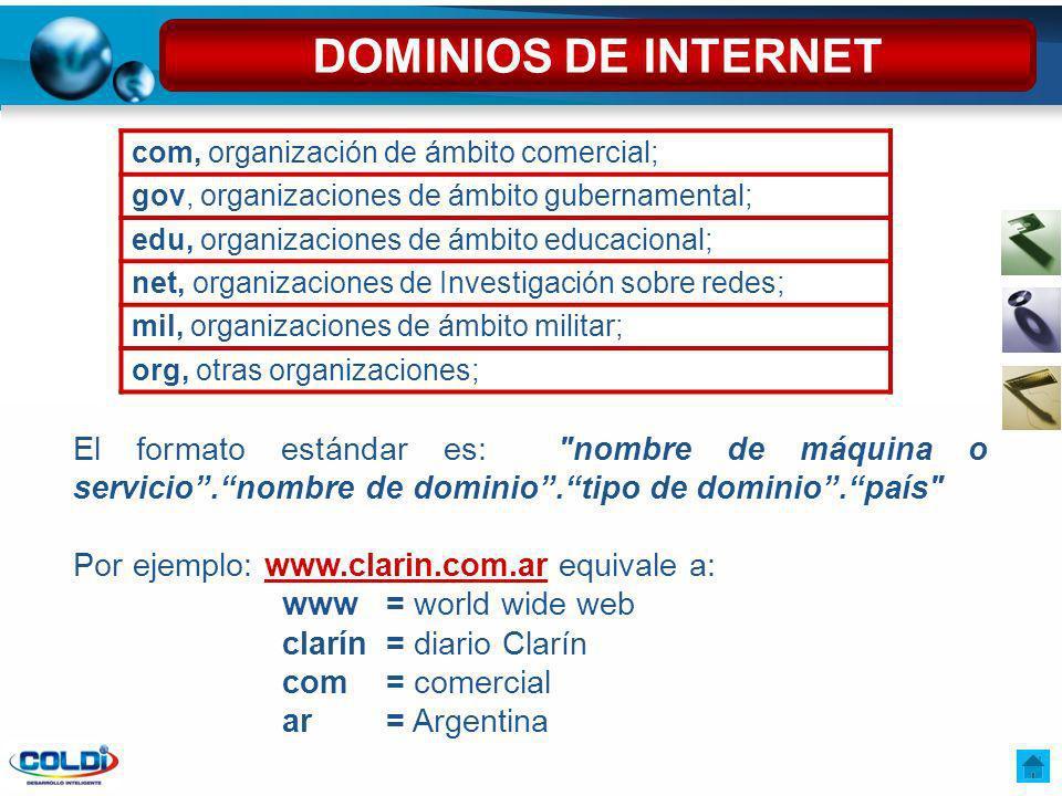 DOMINIOS DE INTERNET com, organización de ámbito comercial; gov, organizaciones de ámbito gubernamental;