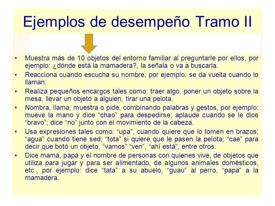 Ejemplos de desempeño Tramo II