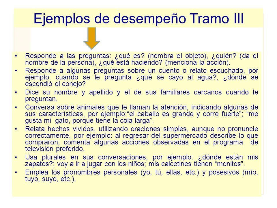 Ejemplos de desempeño Tramo III