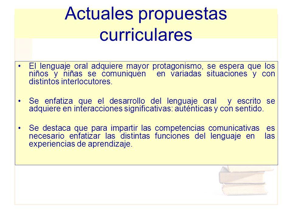Actuales propuestas curriculares
