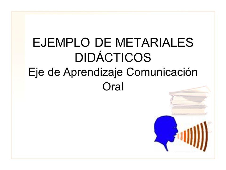 EJEMPLO DE METARIALES DIDÁCTICOS Eje de Aprendizaje Comunicación Oral