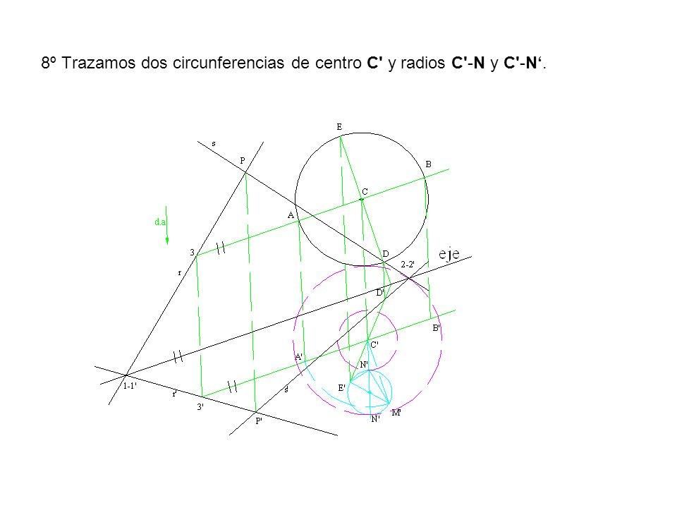 8º Trazamos dos circunferencias de centro C y radios C -N y C -N'.