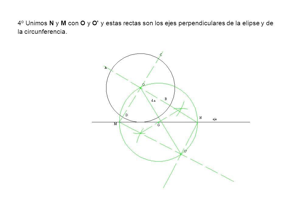 4º Unimos N y M con O y O y estas rectas son los ejes perpendiculares de la elipse y de la circunferencia.