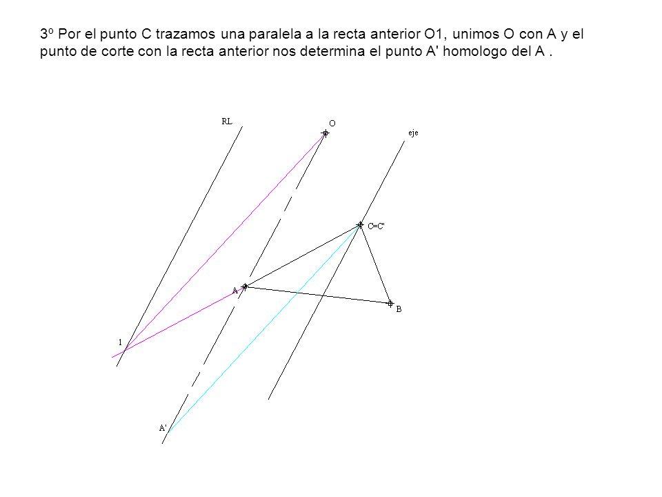 3º Por el punto C trazamos una paralela a la recta anterior O1, unimos O con A y el punto de corte con la recta anterior nos determina el punto A homologo del A .