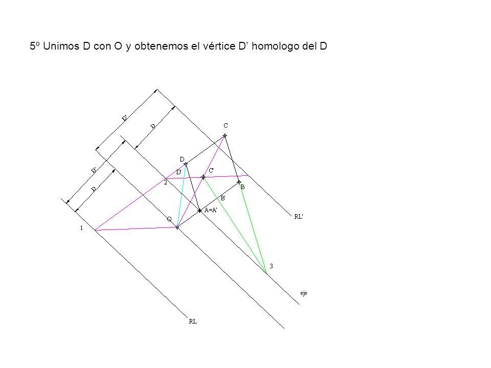 5º Unimos D con O y obtenemos el vértice D' homologo del D